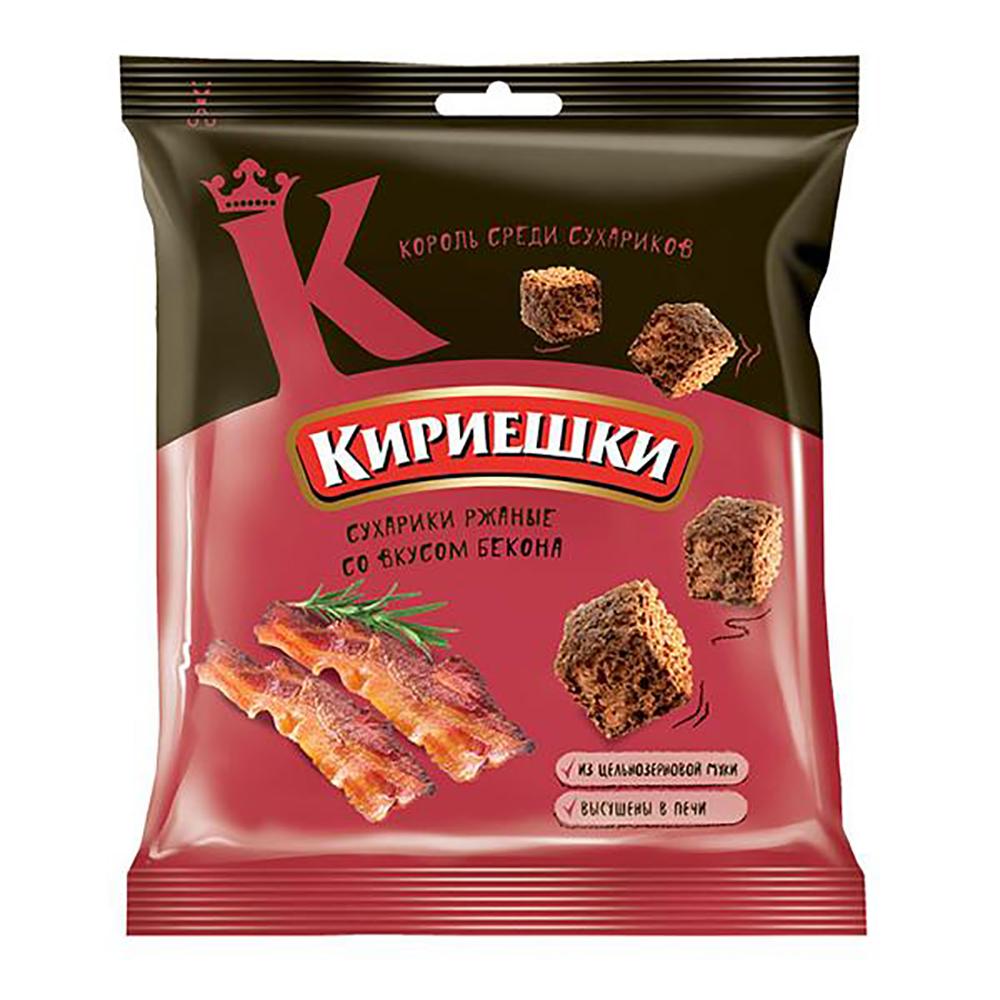 Rye Salted Croutons, Bacon, Kirieshki, 1.41 oz / 40 g