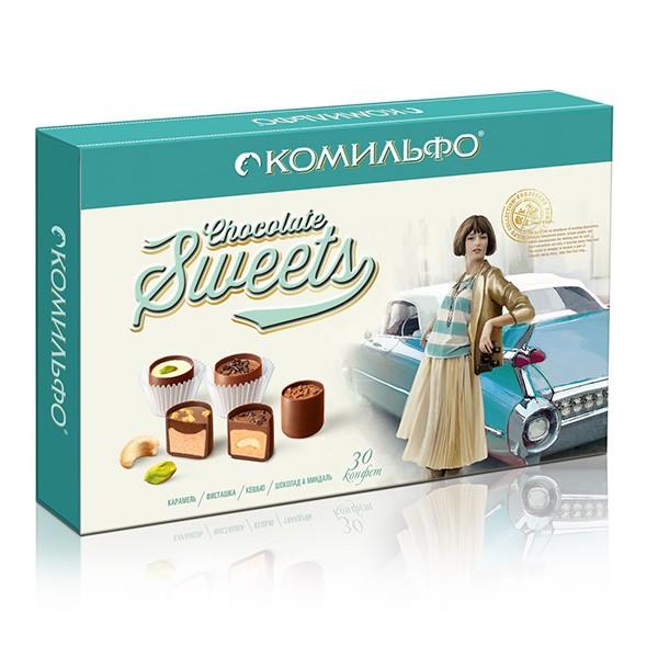 Chocolates Assortment Caramels KOMILFO® / pistachio / cashew / Chocolate & Almonds 348 g