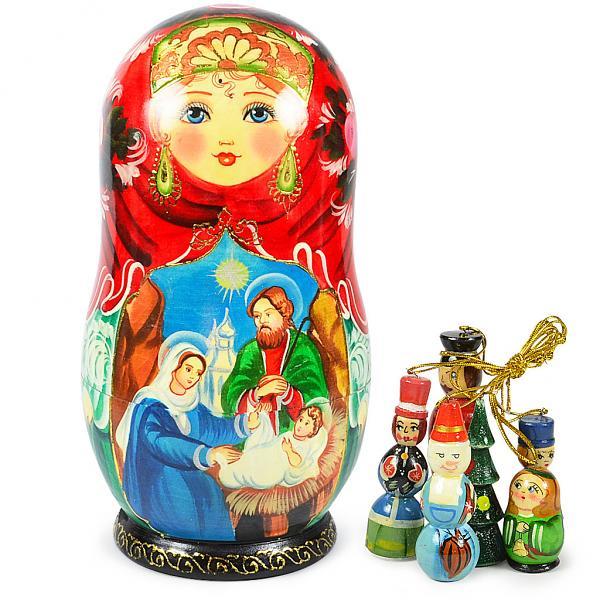 "Matryoshka Korobeynik with 6 Figurines ""The Birth of Jesus Christ"", 8"""
