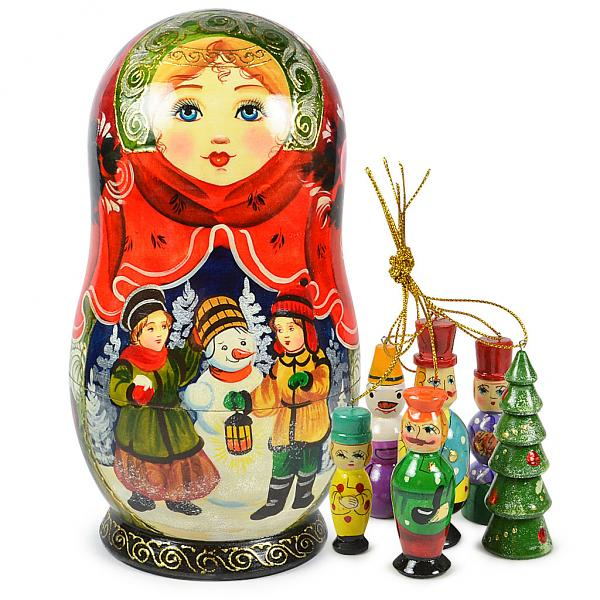 "Matryoshka Korobeynik ""Snowman"" with 6 Figurines (New Year Tree Ornaments), 8"""