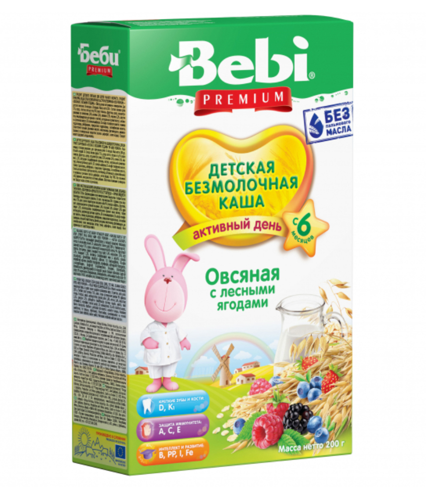 Milk-Free Bebi Oatmeal Porridge w/ Forest Berry, 7.05 oz / 200 g