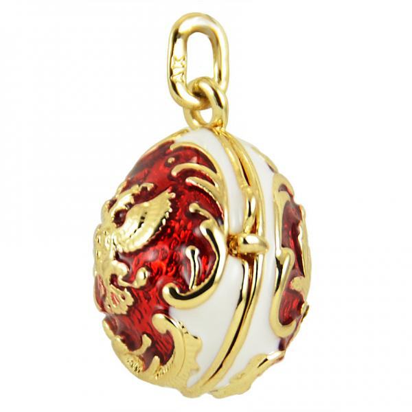 "Russian Style Locket Pendant ""Coat of Arms and Daisies"" (white and red) 1"", 1214-04-01"