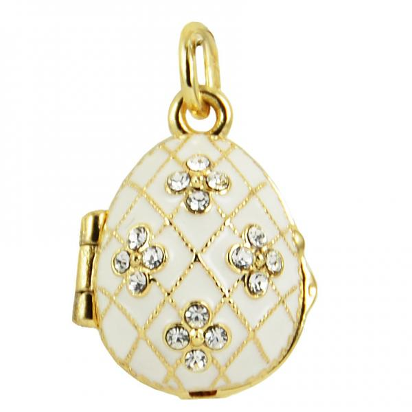 "Russian Style Locket Pendant ""Flowers in Netting"" (white) 1"", 1214-0706"