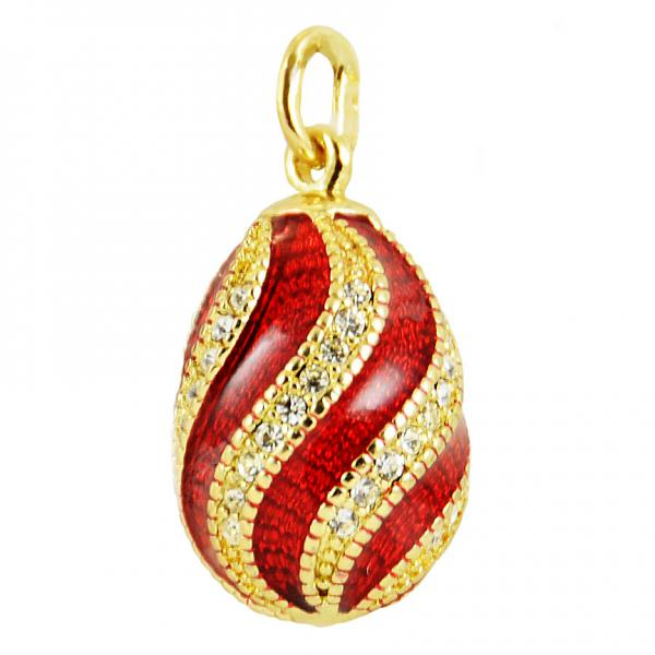 """Russian Style Pendant """"Twist with Jewels"""" (red), 1217-10-01"""