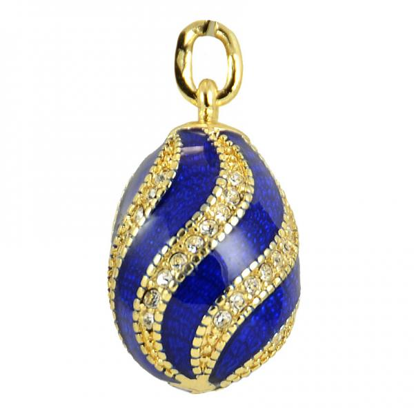 """Russian Style Pendant """"Twist with Jewels"""" (blue), 1217-10-02"""