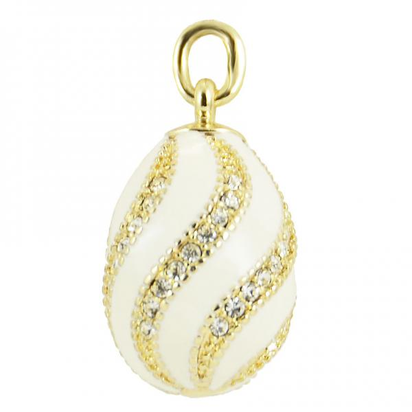 "Russian Style Pendant ""Twist with Jewels"" (white), 1217-10-04"