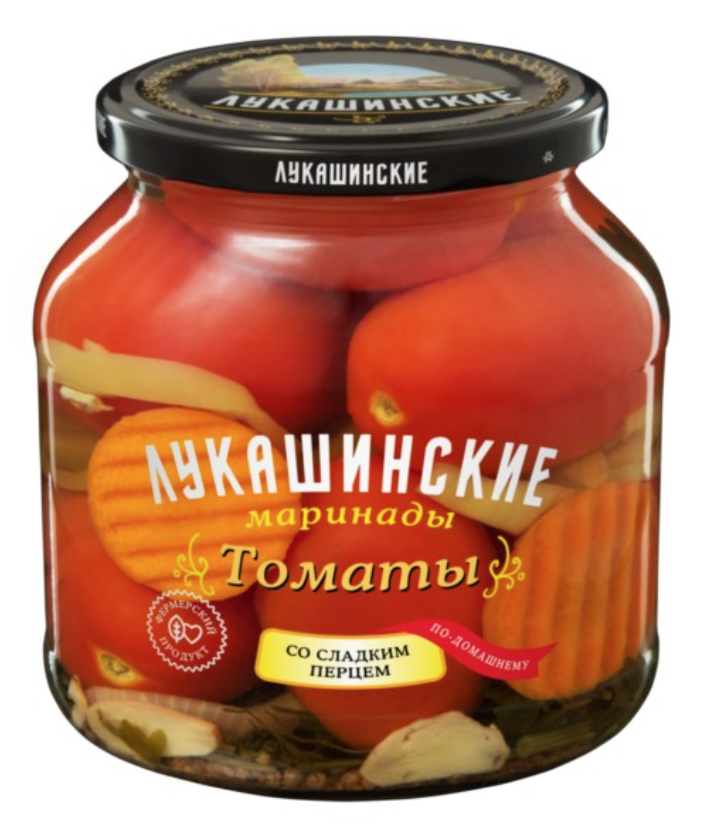 Pickled Tomatoes w/ Sweet Pepper Home Style, Lukashinskie, 670 gr/ 1.48 lb