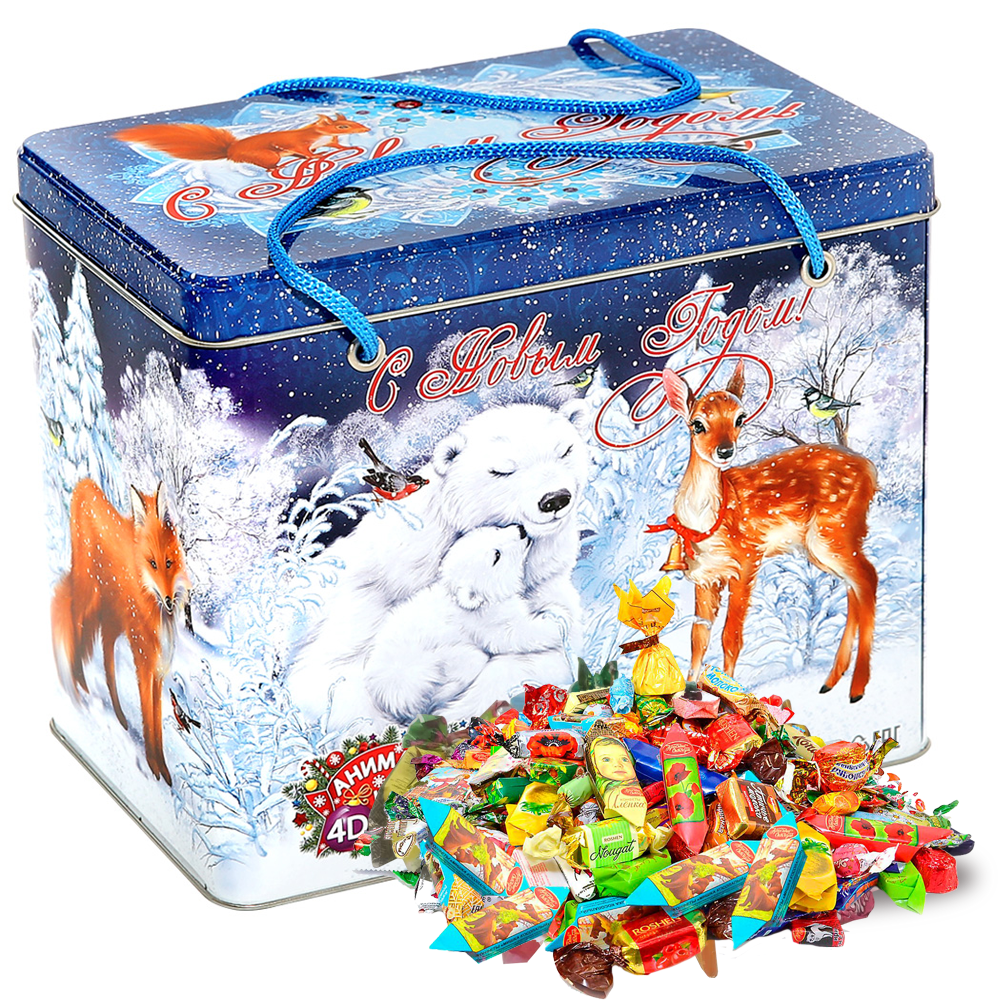 Sweet Christmas Gift Russian Candy, Polar Animals, Tin Pack, 1.4 kg/ 3 lbs