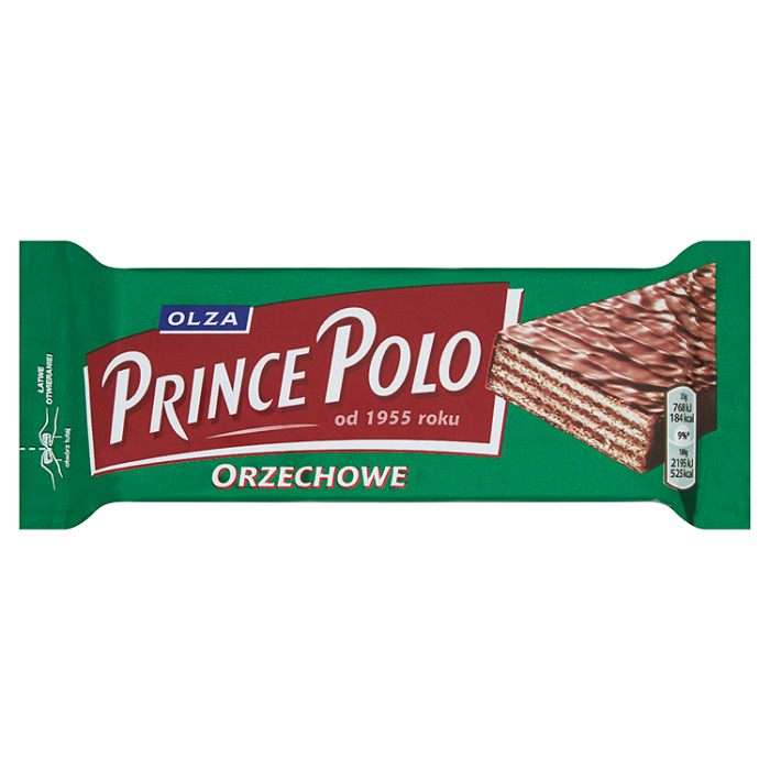 Chocolate Covered Waffles w/Hazelnuts, Prince Polo, 35g/ 0.077 lb