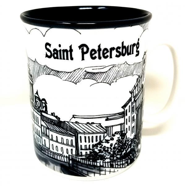 "Souvenir Porcelain Black Mug ""St Petersburg. Church of the Savior on the Spilled Blood"""
