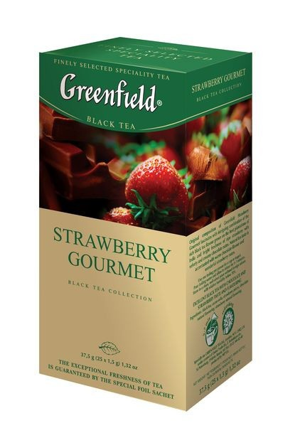 "Greenfield Black Tea ""Strawberry Gourmet"", 25 Tea Bags"