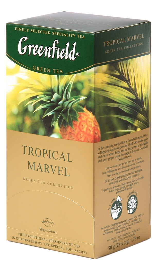 Greenfield Tropical Marvel Green Tea, 25 tea bags