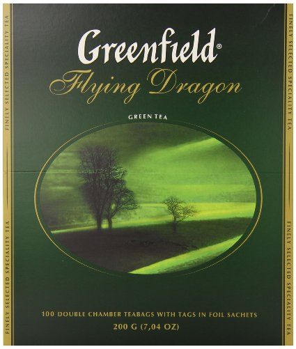 "Greenfield Green Tea ""Flying Dragon"", 100 Tea Bags"