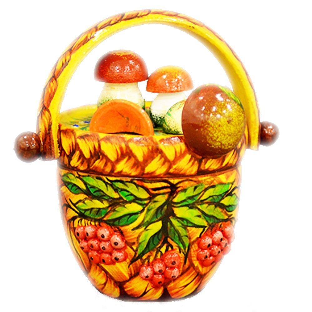 "Decorative Handmade Wooden ""Mushroom Basket"" w/ Natural Organic Flower Honey, 150 g/ 5.29 oz"