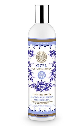 Hair Conditioner for All Hair Types Gzel Tsar's Berries w/ Cranberry and Sea Buckthorn, 13.5 oz/ 400 Ml (Natura Siberica)