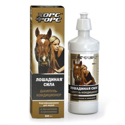 Horse Force Shampoo+Conditioner with Lanolin & Collagen, 16.9 oz/ 500 ml (Horse Force)