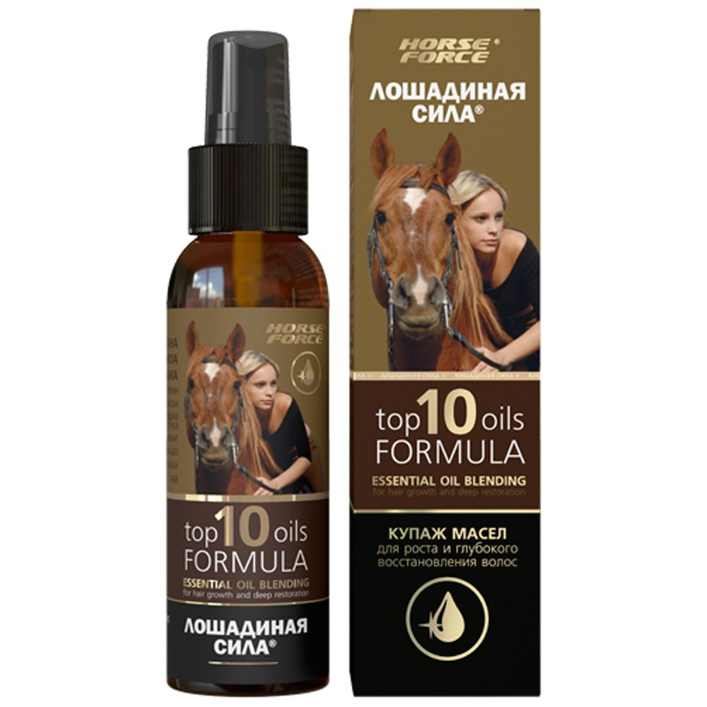 """Top 10 Oils Formula"" Essential Oil Blend for Hair Growth & Deep Restoration, 3.38 oz/ 100 ml (Horse Force)"