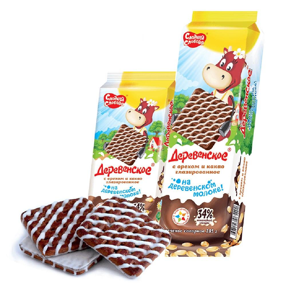 """Derevenskoe"" Cookies w/ Nuts & Cacao Glazed, 10.05 oz/ 285 g"