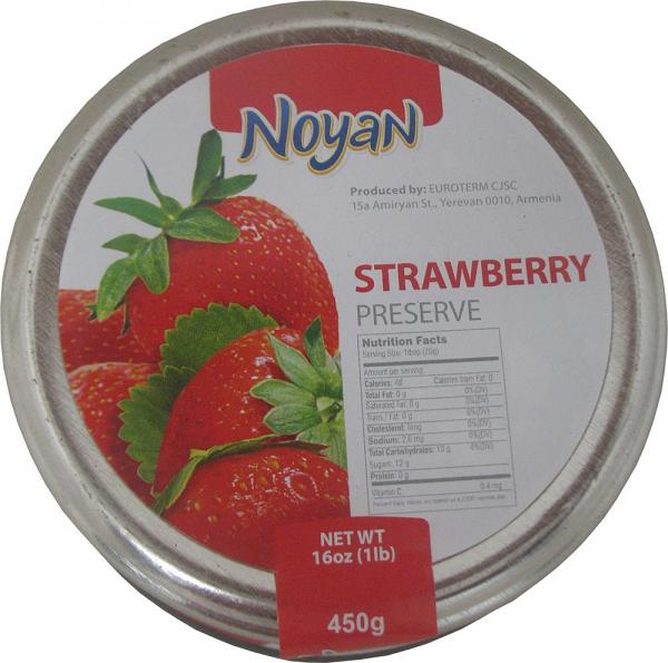 Natural Organic Noyan Armenian Strawberry Preserve, 1 lb / 0.45 kg