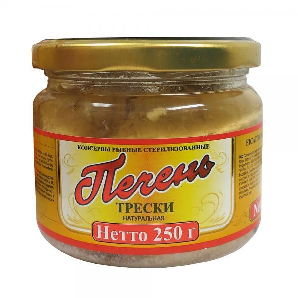 Natural Cod Liver in a Glass Jar, 8.81 oz / 250 g