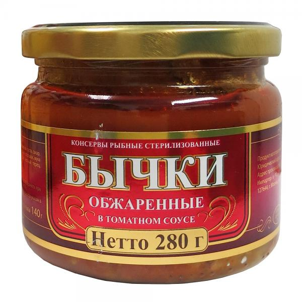 Fried Bullheads in Tomato Sauce (Glass Jar), 9.87 oz/ 280 g