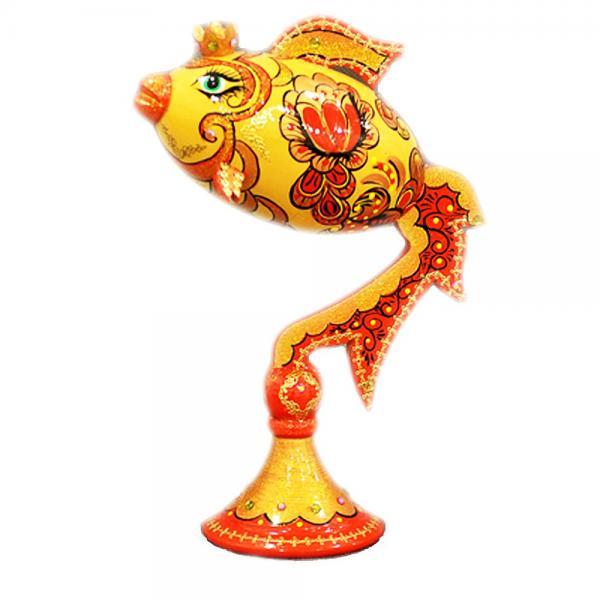 Decorative Handmade Wooden Gold Fish (Red) w/ Natural Organic Flower Honey, 150 g/ 5.29 oz