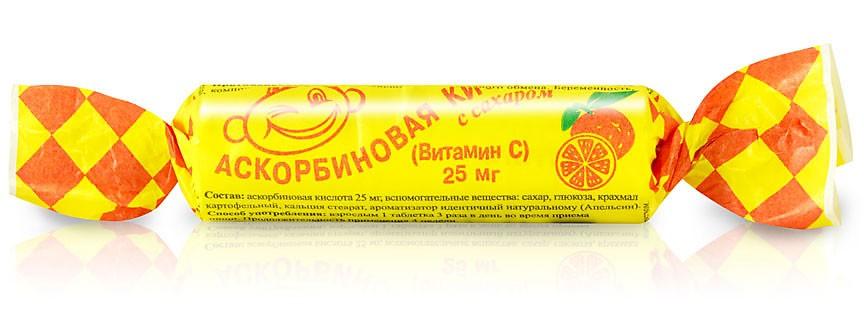 """Ascorbic Acid """"Askorbinka"""", Orange, 10 Tab"""