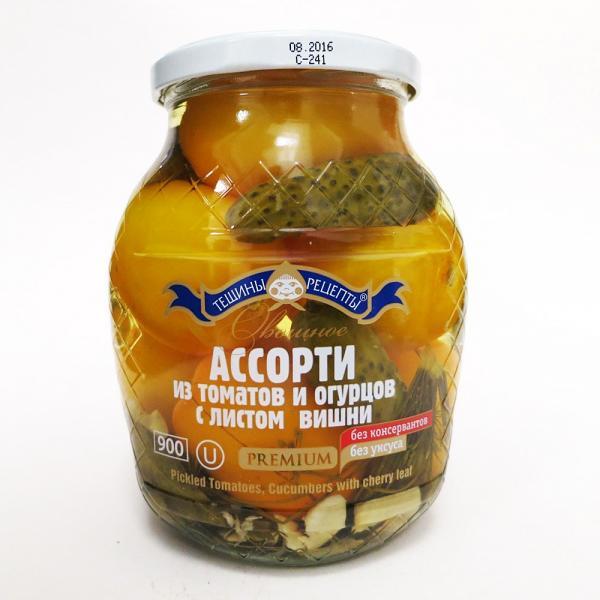 Pickled Tomatoes & Cucumbers w/ Cherry Leaf, 900 g