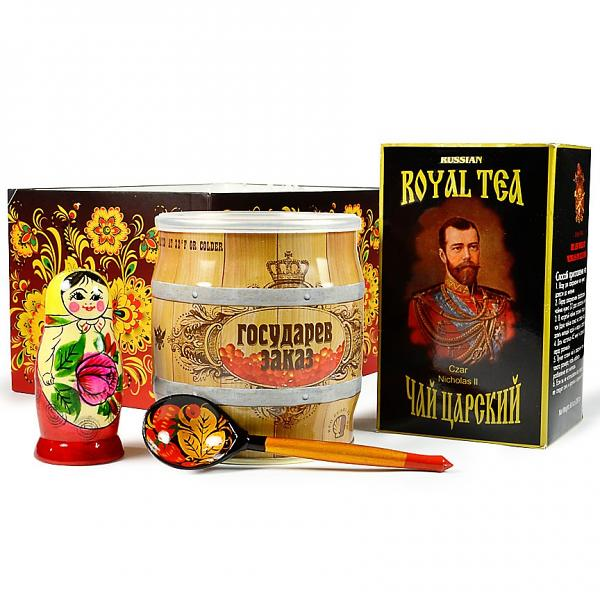"Gift Set ""Russian tradition"" (caviar, Russian tea, wooden spoon, nesting doll)"