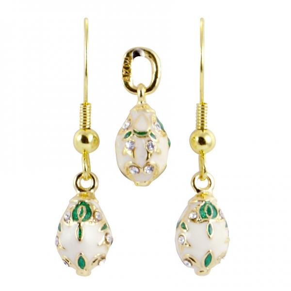 """Russian Style Pendant and Earrings Jewelry Set """"Bouquet"""" (white), 1220-37-04"""