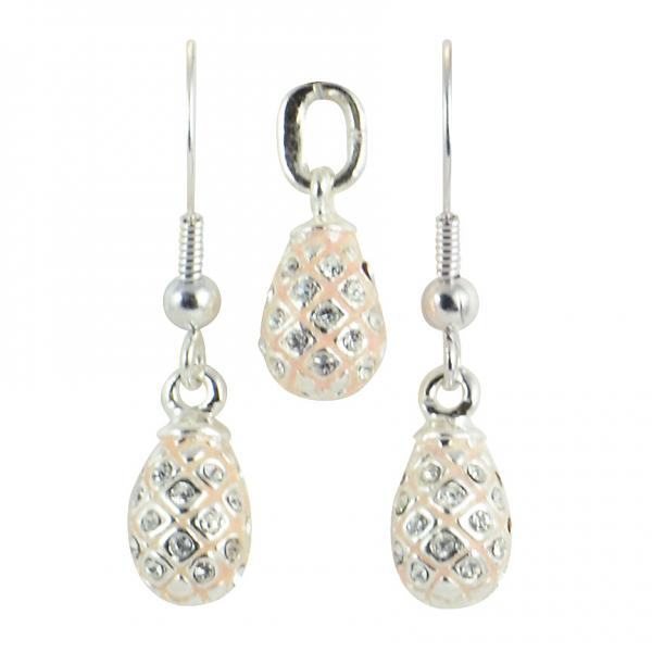 """Russian Style Pendant and Earrings Jewelry Set """"Pine Cone with Rhinestones"""" (pink), 1220-39-08"""