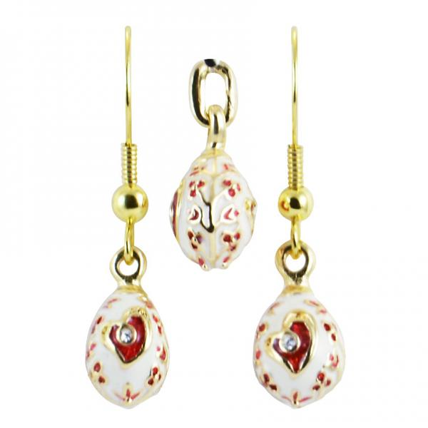 "Russian Style Pendant and Earrings Jewelry Set ""Heart"" (white and red), 1220-49-04"