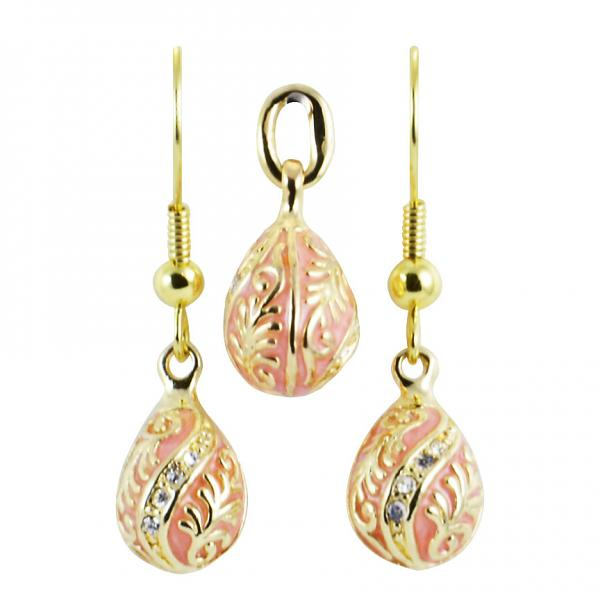 "Russian Style Pendant and Earrings Jewelry Set ""Twist with a Twig"" (pink), 1220-54-08"