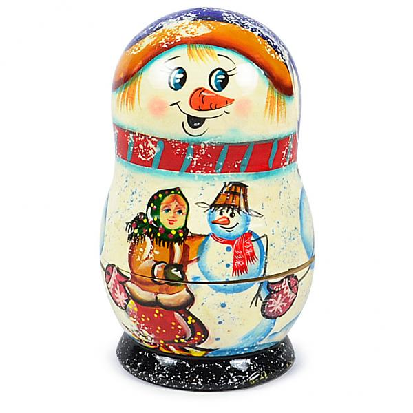 "Matryoshka Snowman Nesting Doll ""Korobeynik"" with 5 Ornaments, 4.5"""