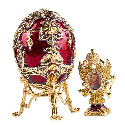 """Faberge Egg Trinket Box Tsarevich with Photo Frame RED, 4"""" / 10 cm (JD1264+SF2080A)"""