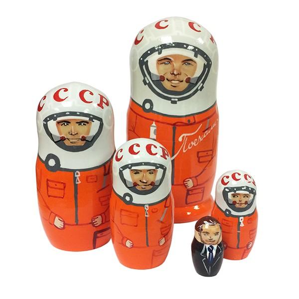 """Yuri Gagarin and USSR Astronauts Nesting Doll Matryoshka, 6"""", 5 pcs"""