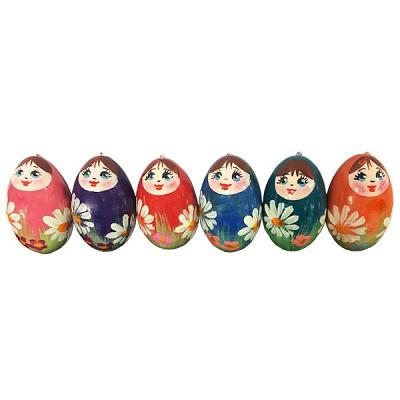 Christmas Wooden Matryoshka Ornaments, set of 6, 2""
