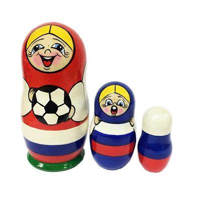 "Handmade Nesting Doll with a Football (Soccer) Ball, 3 pcs, 4"" (10 cm)"