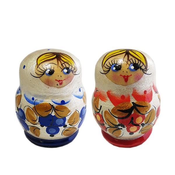 "Handmade Pearl Colored Tiny Nesting Doll, 3 pcs, 1.5"""