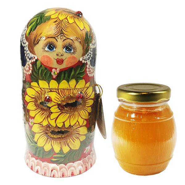 Decorative Handmade Wooden Matryoshka with Sunflowers w/ Natural Organic Flower Honey, 10.14 oz / 300 ml