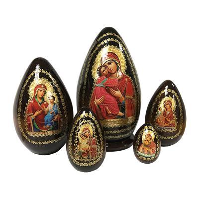 """Easter Gift Ideas """"Vladimir Holy Mother of God"""" Russian Icon Handmade Nesting Egg, 7"""" (19 cm), 5 pcs"""