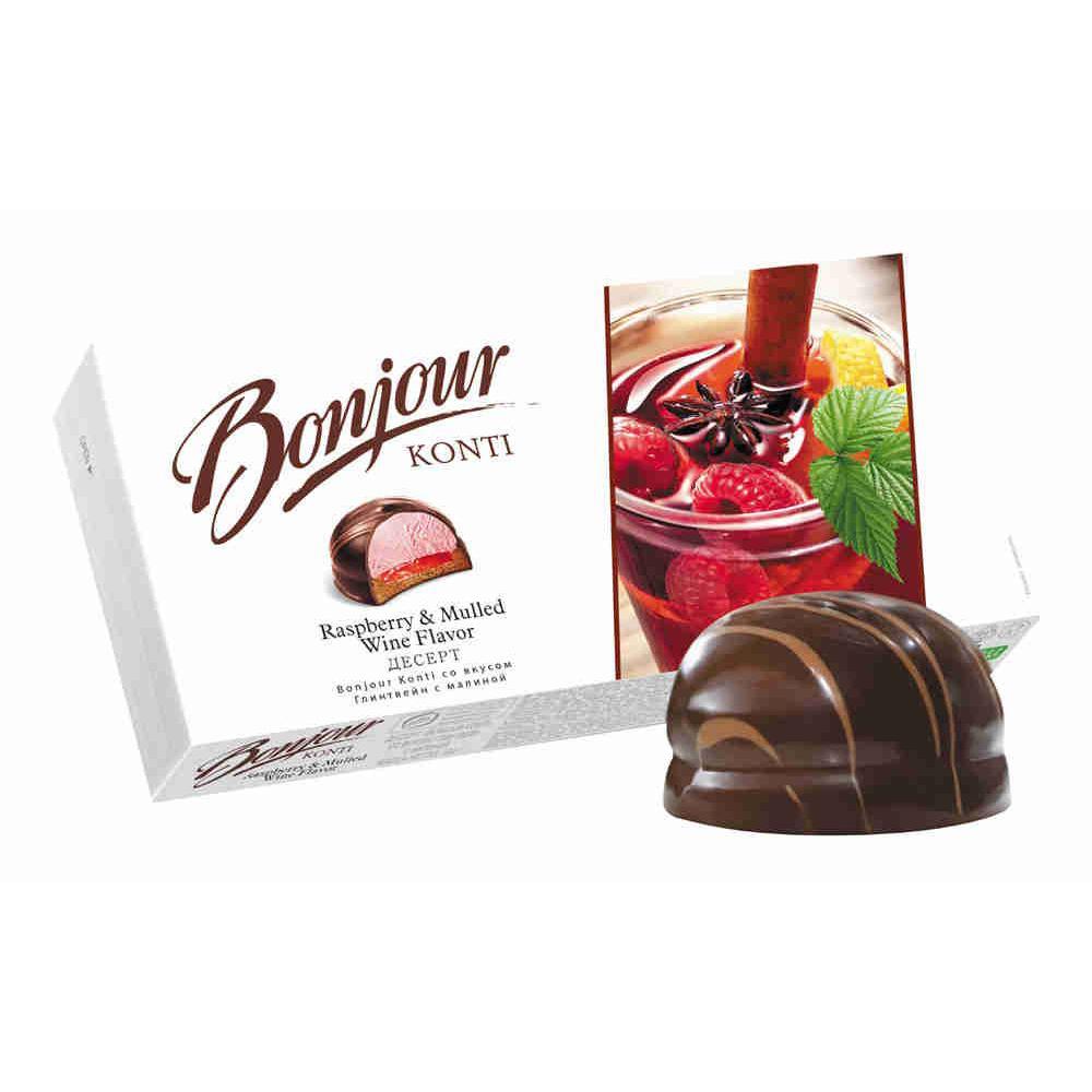 Chocolate Glazed Zefir Raspberry & Mulled Wine Flavor, Bonjour, 232g