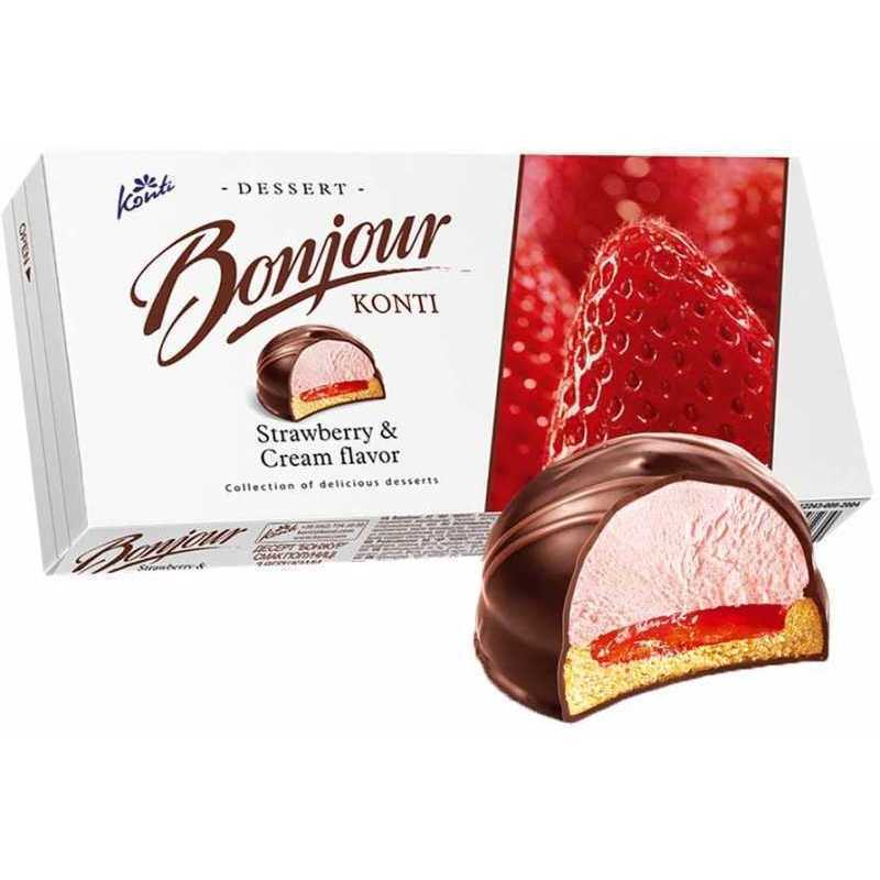 Chocolate Glazed Zefir Strawberry Cream, Bonjour, 232 g