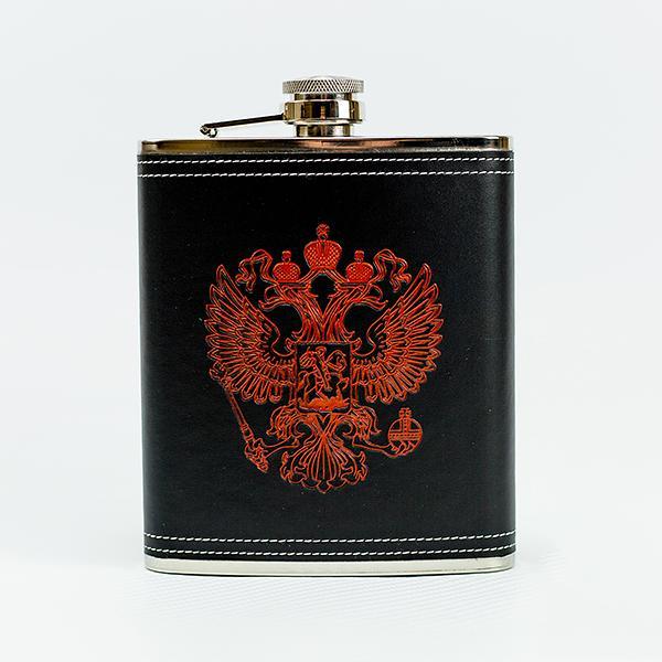 """Souvenir Flask """"Russia Coat of Arms"""", 8 oz / 13.5 cm"""