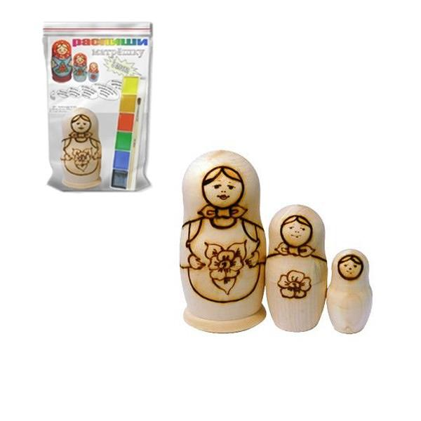Traditional Matryoshka Art Kit with Watercolor, 3 pcs, 4.5