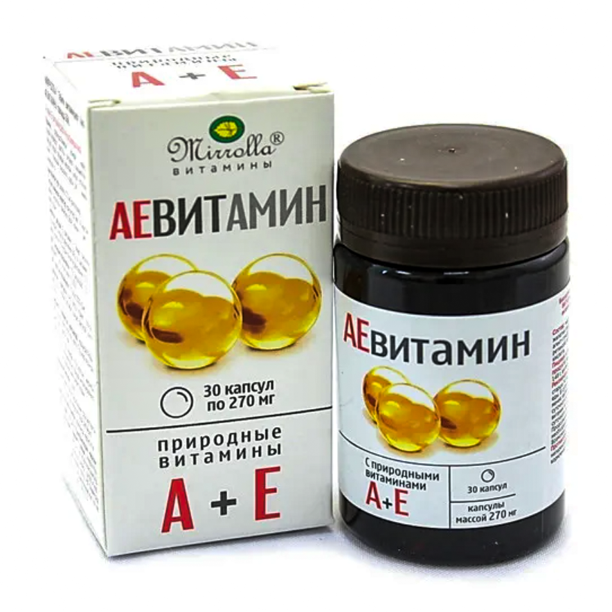 Vitamin A+E AEVIT, Mirrolla, 30 capsules of 270 mg