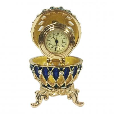 "Egg Lacy Box with the Clock (blue), 2.4"" / 6.5 cm (HJD0105CL-1)"