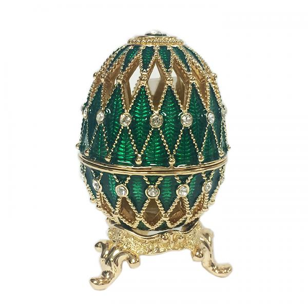Mini Egg Lacy Box with Golden Mesh Pattern (green), 1.2