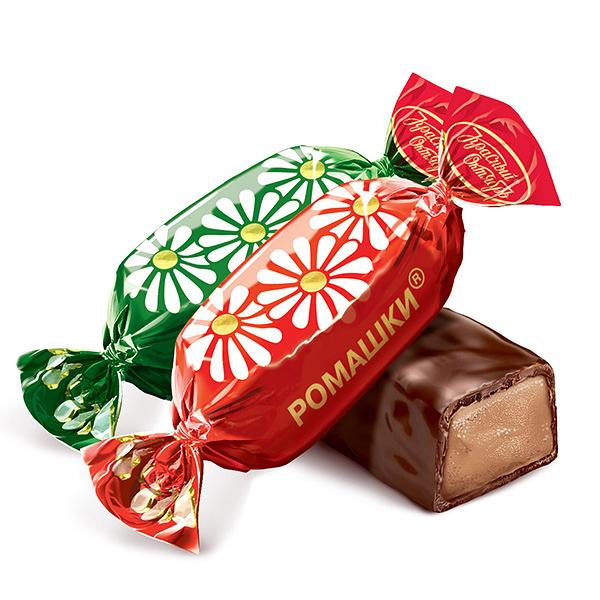 Daisies (Romashki) Chocolate Candy, 0.5 lb / 0.22 kg (Red October)