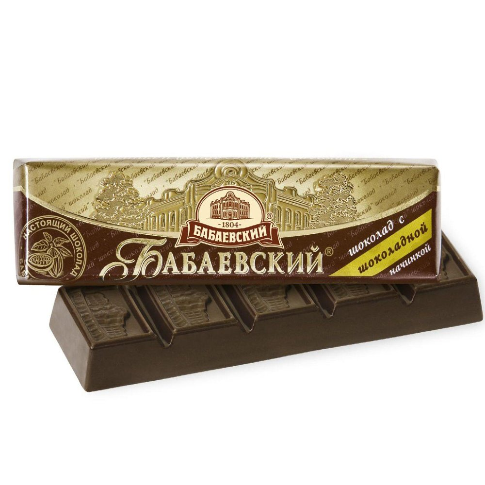 Babaevsky Chocolate Bar with Chocolate Filling, 1.76 oz / 50 g